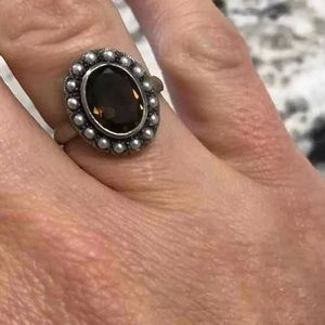 Jewelry - Sterling Smokey quartz and seed pearl ring
